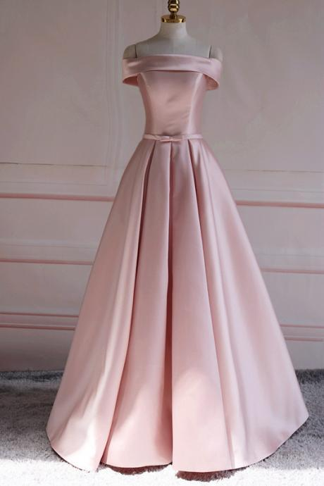 Pink Long Prom Gown, Satin Formal Dress, Off Shoulder Party Dress