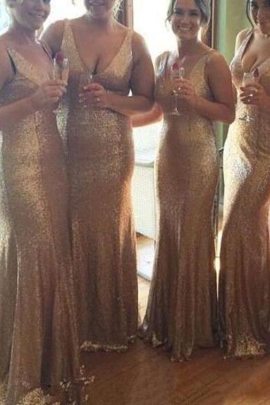 V-neckline Sequins Bridesmaid Dresses, Sexy Bridesmaid Dresses, Mermaid Evening Party Dresses