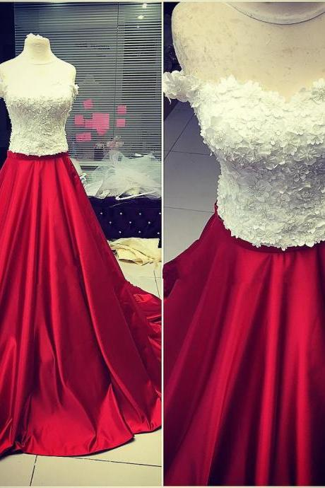 Red Long Formal Gown, Party Gowns, Red Prom Dress 2018, Formal Dresses 2018