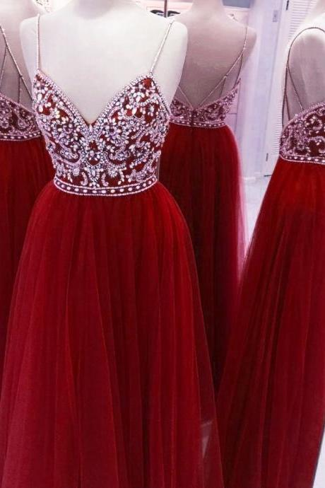 Red Straps Beaded Long Prom Dresses, Tulle Sparkle A-line Prom Dress, Prom Dress 2018
