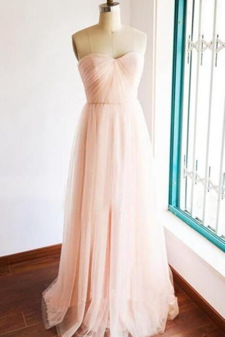 Pink Tulle Simple Lovely Gown, Light Pink Bridesmaid Dresses, Formal Dress 2018