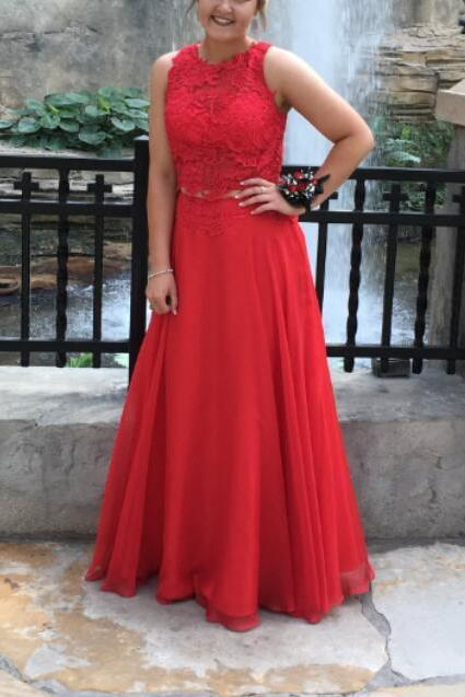 Red Lace and Chiffon Long Prom Dresses, Junior Prom Dress 2018, Red Gowns