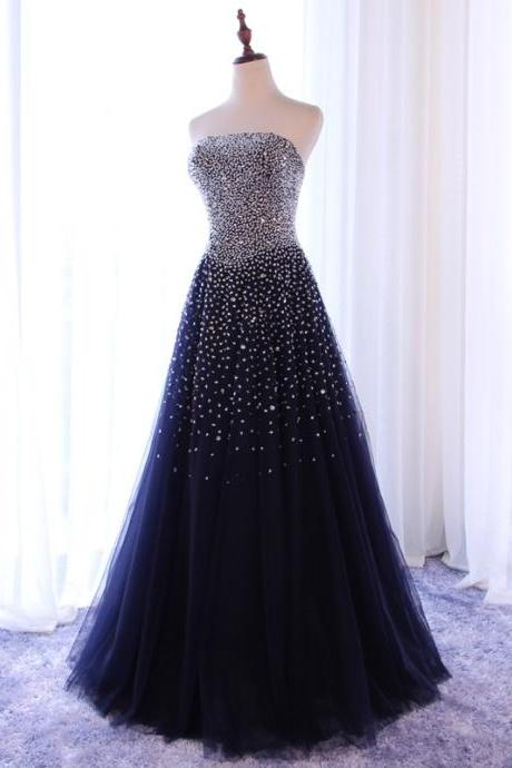 Sparkle Blue Long Formal Dresses, Handmade Prom Dress, Gorgeous Evening Party Dresses