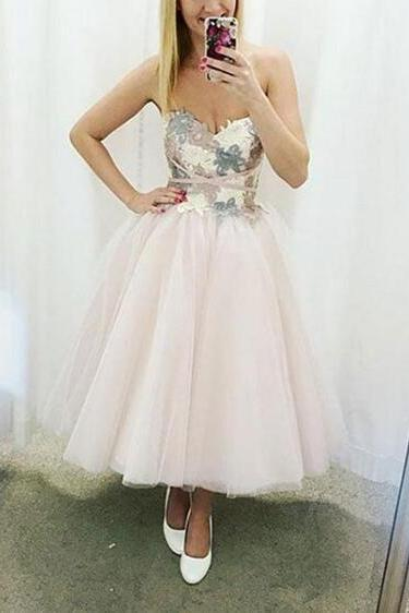 Lovely Tea Length Light Pink Party Dresses, Vintage Style Formal Dress, Lovely Gown