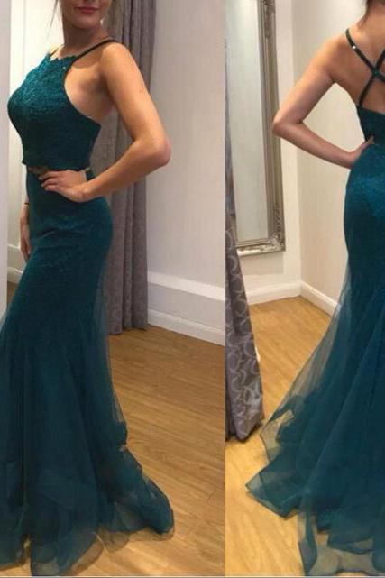 Dark Green Two Piece Mermaid Tulle Lovely Formal Dresses, Teen Party Dresses, Junior Prom Dresses
