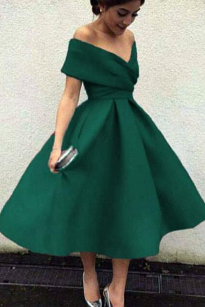 Dark Green Off Shoulder Tea Length Party Dress, Satin Wedding Party Dresses, Green Formal Dresses
