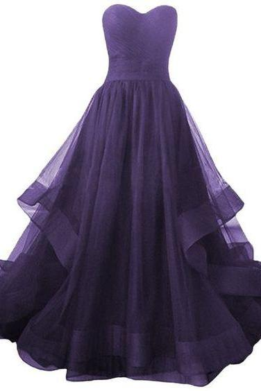 Dark Purple Tulle Sweetheart Long Formal Dress, Prom Dress 2018, Purple Gowns