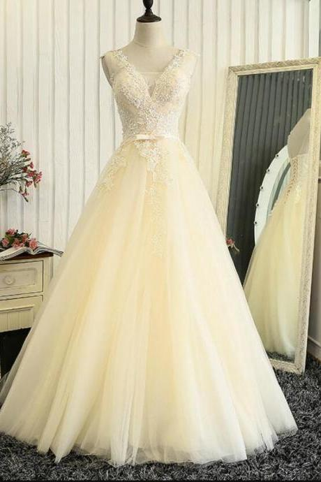 Lovely Light Champagne Tulle Long Lace Prom Dress 2018, Beautiful Party Gowns, Formal Dress 2018