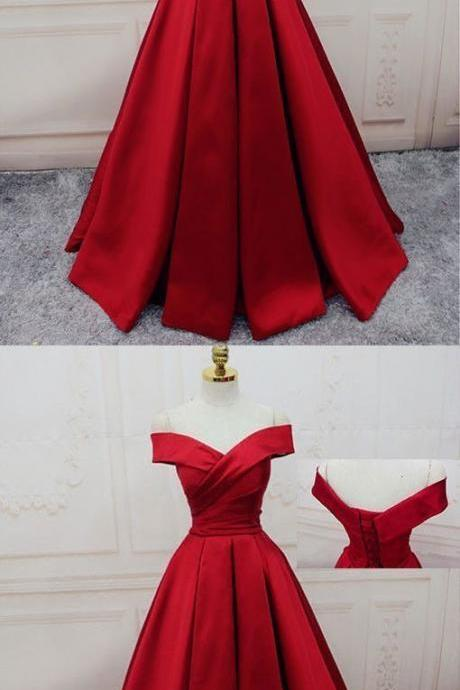 Red Off Shoulder Satin Prom Dress, Red Party Gowns, Red Party Dresses