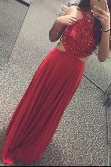 Red Chiffon Beaded Long Pretty Prom Dress, Charming A-line Handmade Party Dresses 2018
