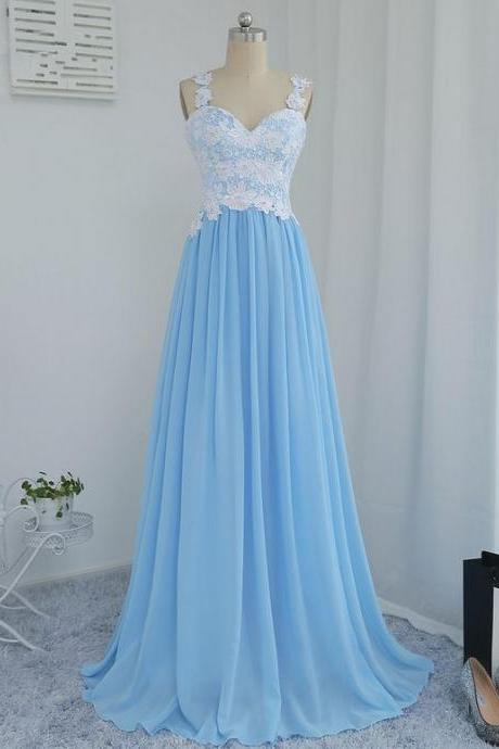 Blue Chiffon and Lace Long Party Dresses, Pretty Prom Dresses, Junior Party Dresses