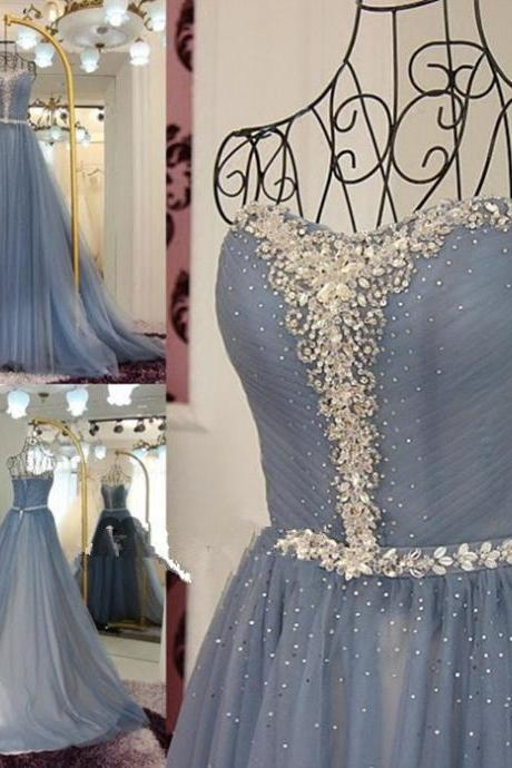 Charming Long Strapless Prom Dress, Beaded Prom Dress, Tulle Formal Dress, Evening Gowns