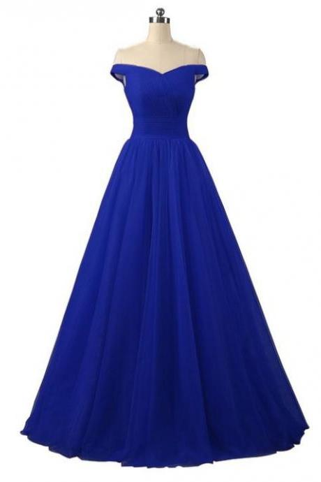 Gorgeous Royal Blue Tulle Long Formal Dress, Blue Party Gowns, Blue Formal Dress 2k18