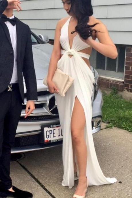 Sexy White Slit Chiffon Prom Dress, Prom Dress 2k18, Chiffon Sexy Formal Dress