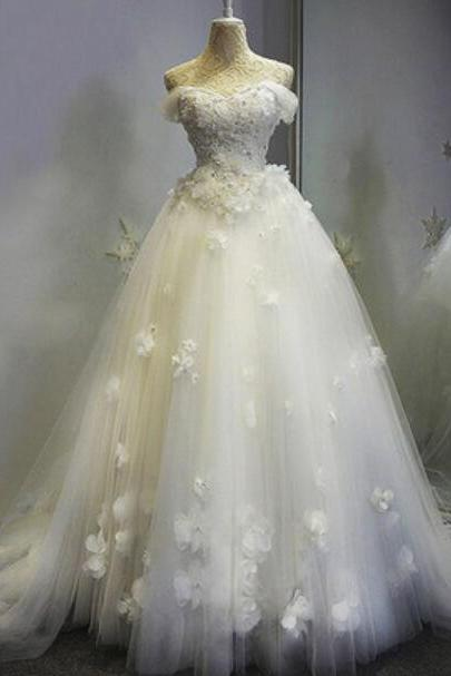 Off Shoulder White Tulle and Floral Lace Applique Off Shoulder Bridal Ball Gown
