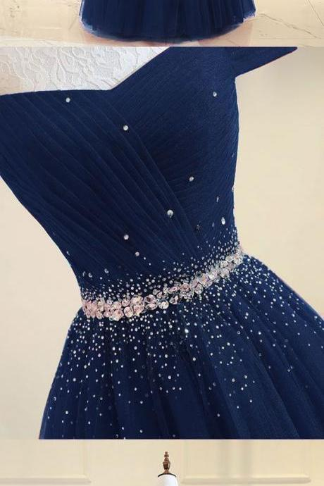 Blue Tulle Long Formal Gowns, Elegant Teen Junior Prom Dress, Party Dress