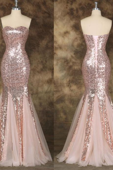 Sequins Mermaid Lace-Up Formal Gowns, Pink Prom Dresses, Formal Dresses