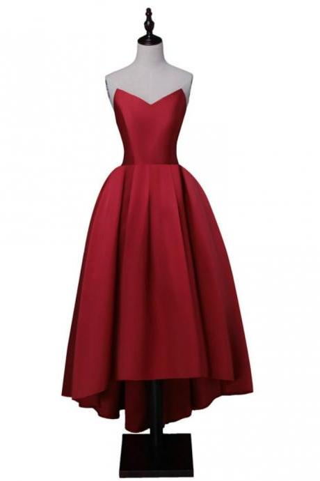 Wine Red Satin High Low Homecoming Dresses, Lace-Up Back Sweetheart Neck Prom Dress 2018