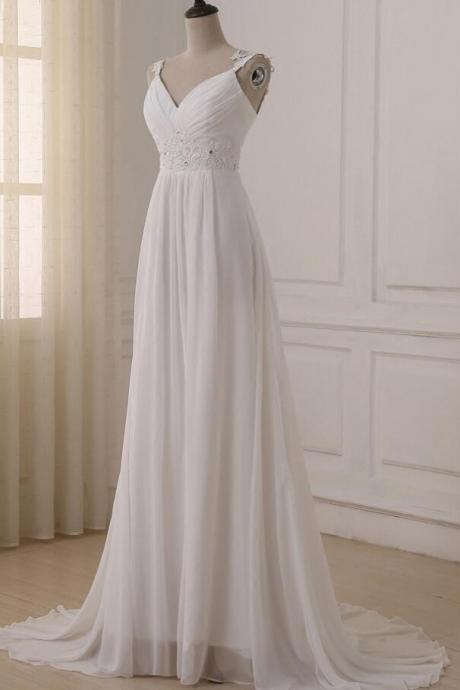 Beautiful White Chiffon Straps Prom Dress,V-neckline Long Party Dress, Prom Gowns 2018