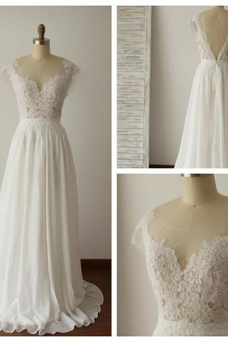 White Chiffon and Lace Beach Wedding Dress 2018, Chiffon Simple Bridal Gown, Prom Dress 2018