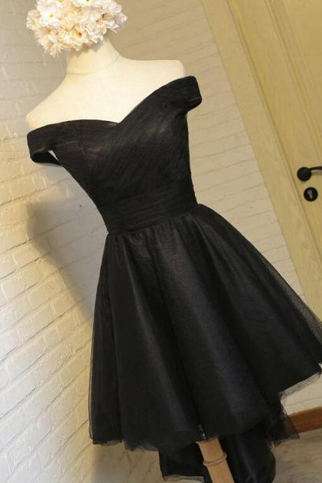 Black Tulle Off-The-Shoulder Short A-Line Homecoming Dress, Party Dress