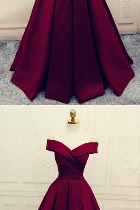 Satin Off Shoulder Burgundy A-line Formal Dress, Elegant Party Dress, Deep Burgundy Prom Dress 2018