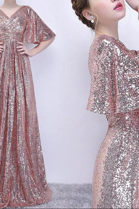 Rose Gold Sequins Long Prom Dress, Party Dress, Sequins Bridesmaid Dresses