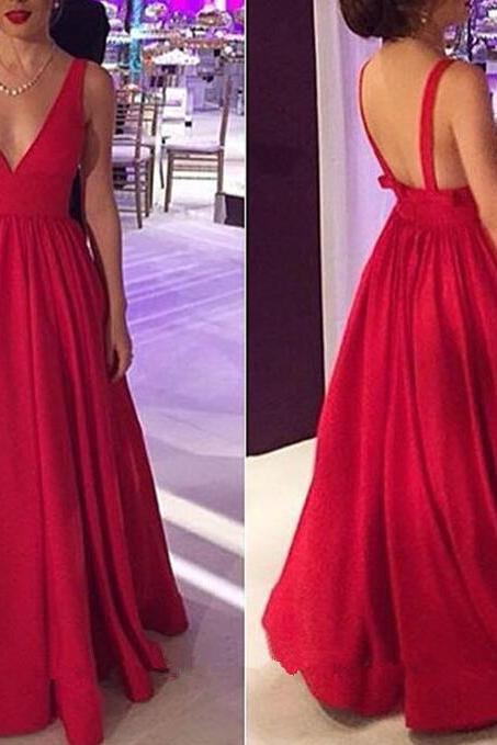 Red V-neckline Backless Long Pretty Prom Dress, Red Party Dress, Formal Gowns