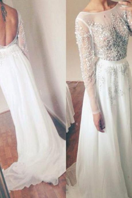 Beautiful White Chiffon Backless Long Sleeves Party Dress, White Party Dress, Chiffon Prom Dresses