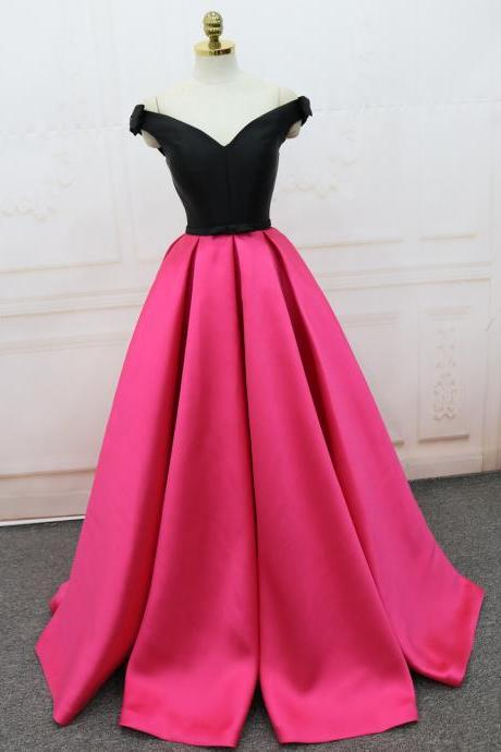 Fuchsia and Black Satin A-line Party Dress, Beautiful Formal Gowns, Prom Dress 2018