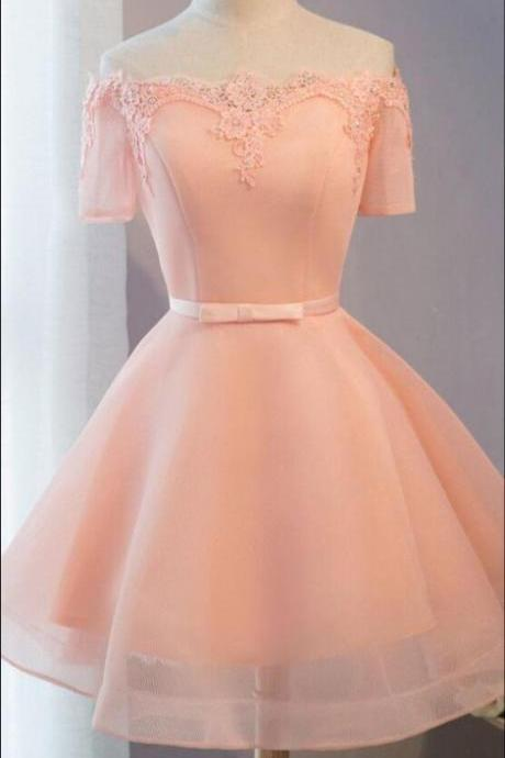 Cute Pink Off Shoulder Short Sleeves Homecoming Dresses, Short Party Dress 2018, Graduation Dresses
