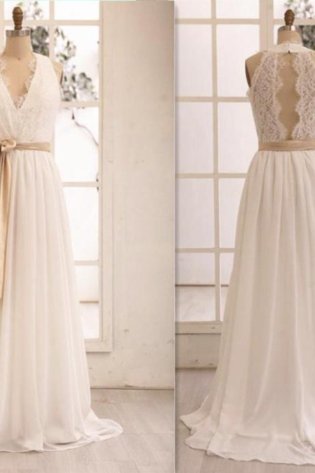 Simple Beach Chiffon and Lace Wedding Dress, Beautiful Party Dress, Formal Dress