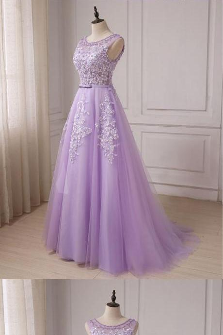 Beautiful Lavender Tulle Lace Applique Long Teen Party Dress, Junior Prom Dress, Formal Gowns
