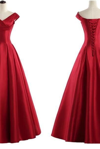Red Satin Long Unique Handmade High Quality Party Dress, Red Formal Gowns, Prom Dress 2018
