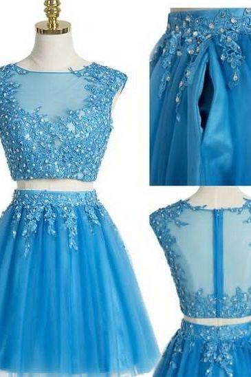 Blue Lace Applique Two Piece Homecoming Dress, Lovely Teen Formal Dress, Party Dress 2018