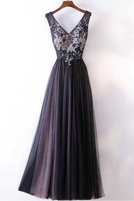 Charming Tulle Black Party Dress, Elegant Prom Gowns, Floral Junior Prom Dresses