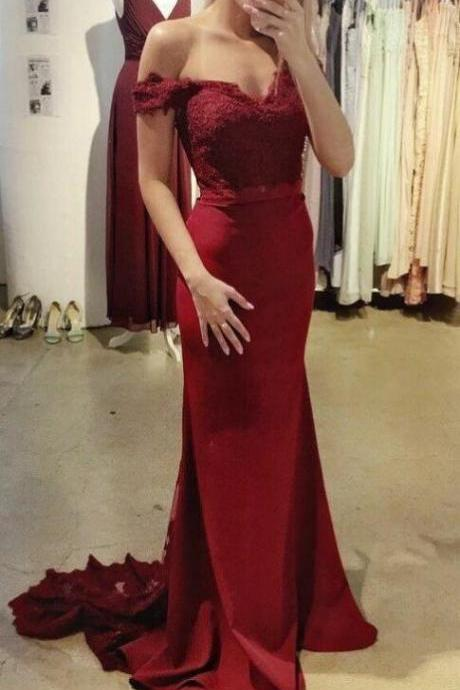 Beautiful Wine Red Off Shoulder Mermaid Gowns, Burgundy Party Dress, Prom Dress 2018