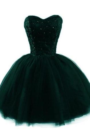 Dark Green Tulle Ball Gown Short Homecoming Dress, Short Prom Dress, Junior Party Dresses