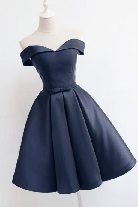 Beautiful Short Dark Blue Satin Prom Dress, Navy Blue Homecoming Dress, Short Party Dress