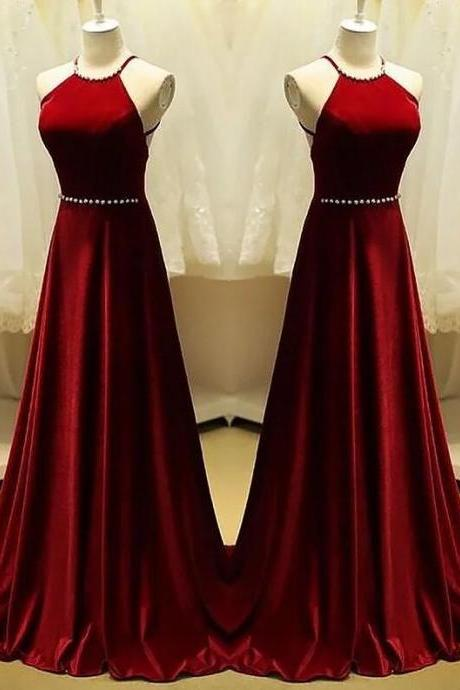 Beautiful Dark Red Velvet Halter Long A-line Party Dress, Charming Formal Gowns, Prom Dress 2018