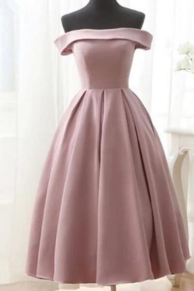 Dark Pink Tea Length Off Shoulder Satin Party Dress, Wedding Party Dress, Woman Formal Dress 2018