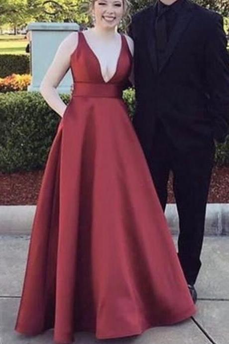 Beautiful Wine Red Satin Long Prom Dress 2018, Red Party Gowns, Formal Dresses 2018