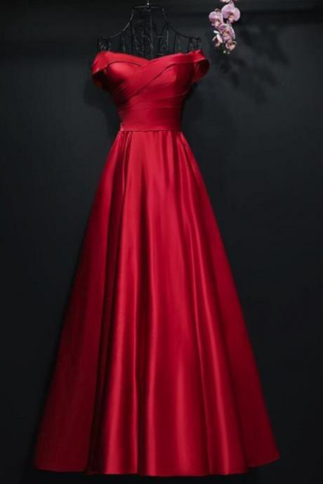 Beautiful Red Satin Long Party Dress, Red Formal Gowns, Red Junior Prom Dress