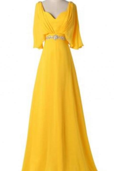 Yellow Chiffon Long Party Dress, Prom Gowns, Wedding Party Dresses