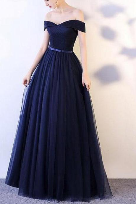 Beautiful Navy Blue Long Party Dress, Off Shoulder Elegant Dress, Long Formal Dress 2018