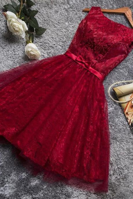 Lovely Dark Red Lace Short Party Dress, Red Party Dresses, Formal Dress, Homecoming Dresses