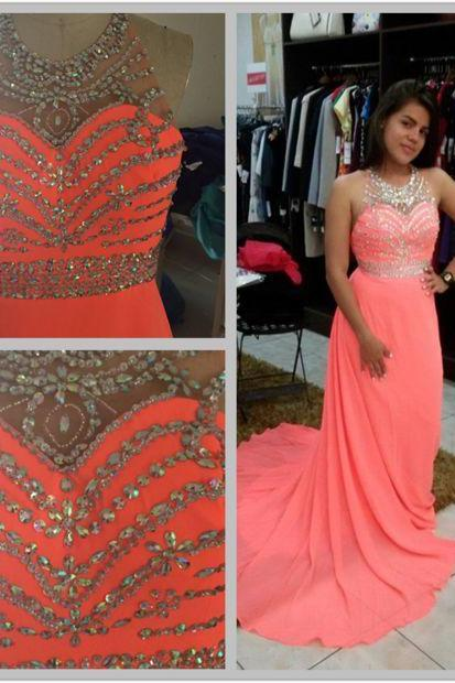 Coral Chiffon Halter Floral Long Bridesmaid Dresses, Lovely Prom Dresses 2018, Party Dresses, Chiffon Gowns