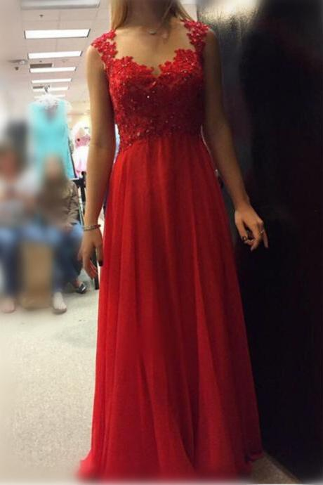 Beautiful Red Chiffon and Applique Long Party Gowns, Red Junior Prom Dress, Formal Dresses