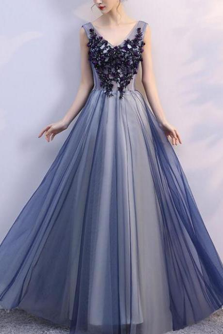 Beautiful Blue Tulle V-neckline Long Party Dress, Tulle Formal Gowns