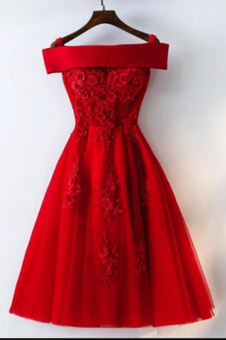 Red Satin and Tulle Short Party Dress, Lovely Red Homecoming Dress, Cute Formal Dress